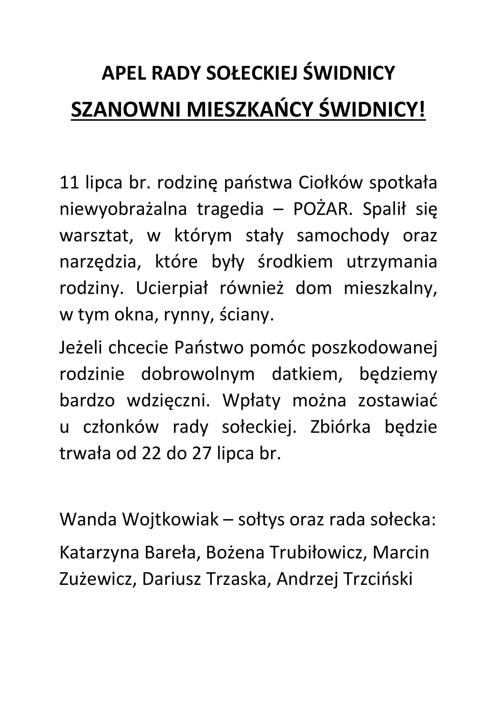 Ilustracja do informacji: Apel Rady Sołeckiej w Świdnicy
