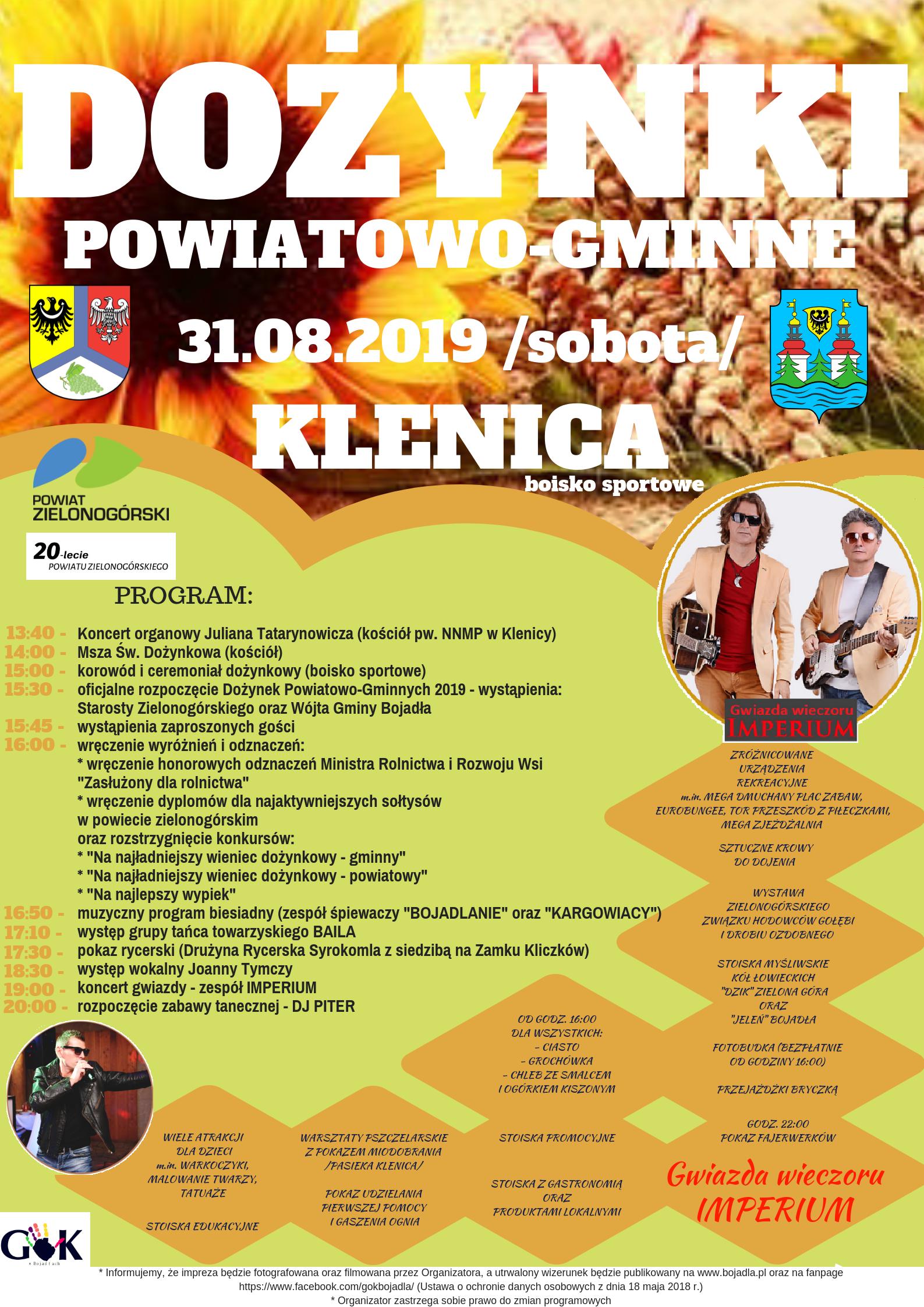 Ilustracja do informacji: Dożynki powiatowo-gminne w Klenicy