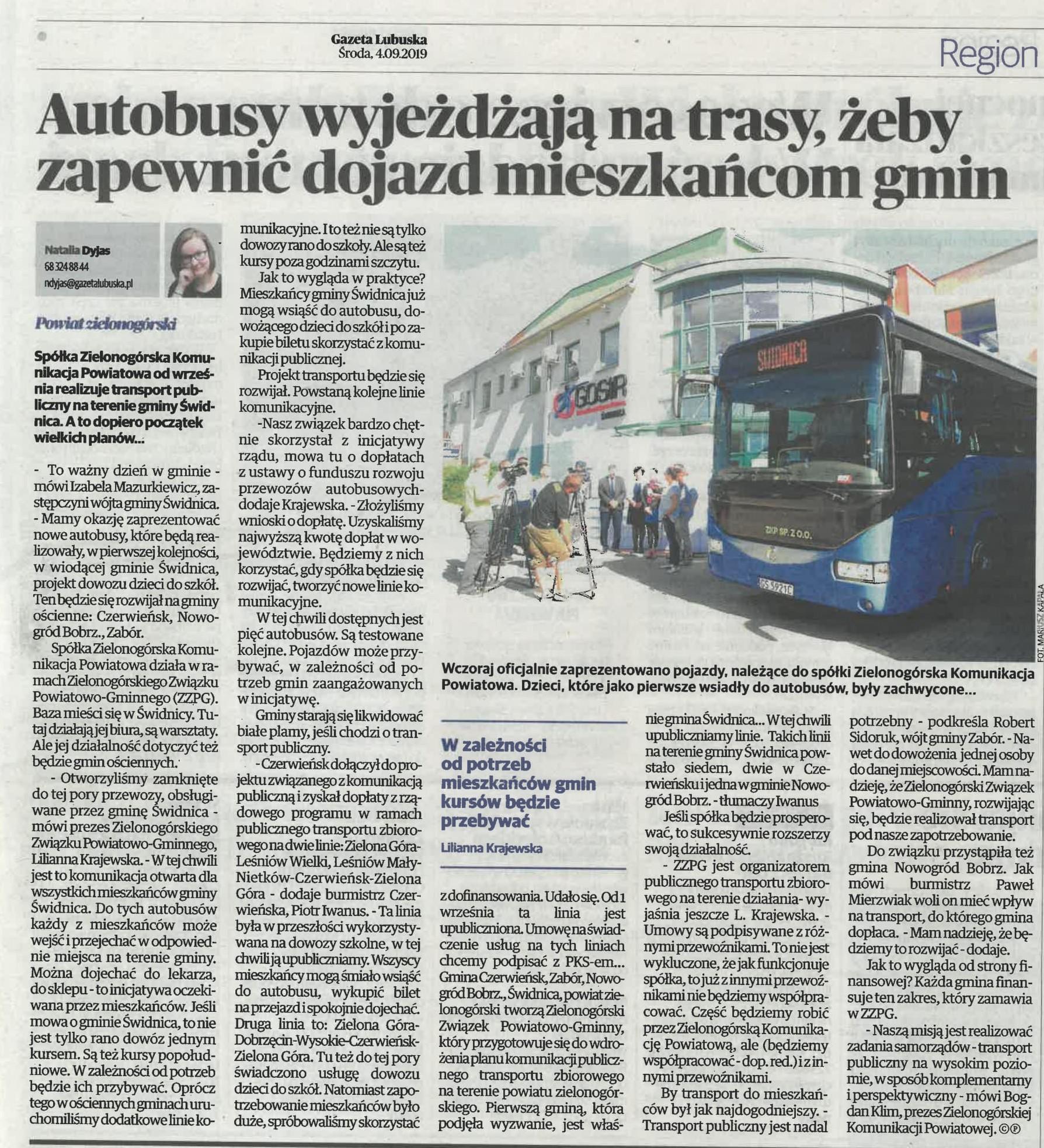 Ilustracja do informacji: Gazeta Lubuska o Zielonogórskiej Komunikacji Powiatowej