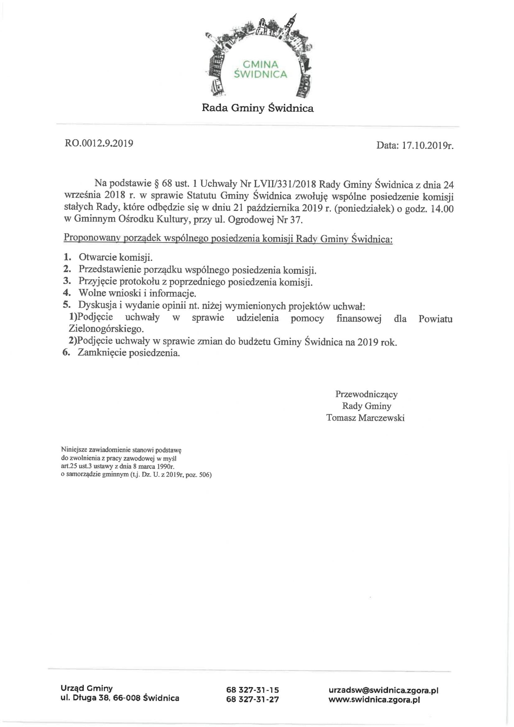 Ilustracja do informacji: Zaproszenie na posiedzenie komisji stałych Rady Gminy Świdnica