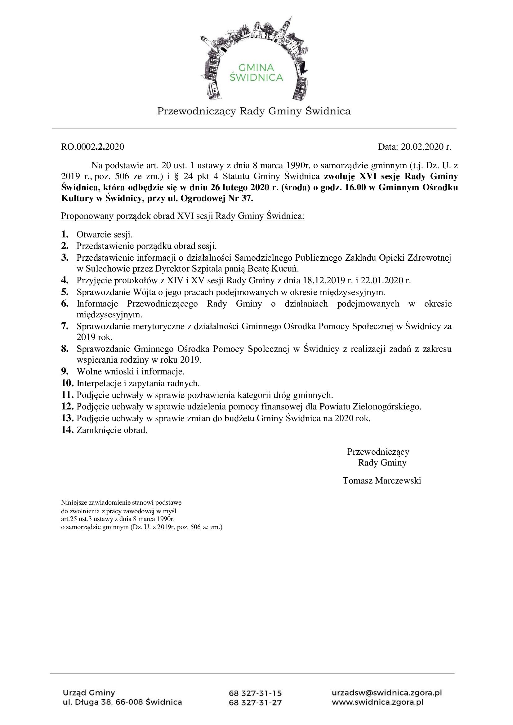 Ilustracja do informacji: XVI sesja Rady Gminy Świdnica
