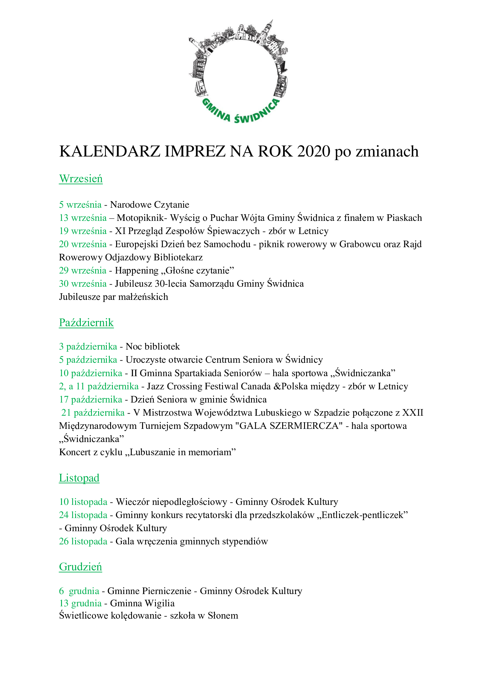 Ilustracja do informacji: Kolejne zmiany w Kalendarzu imprez gminnych 2020