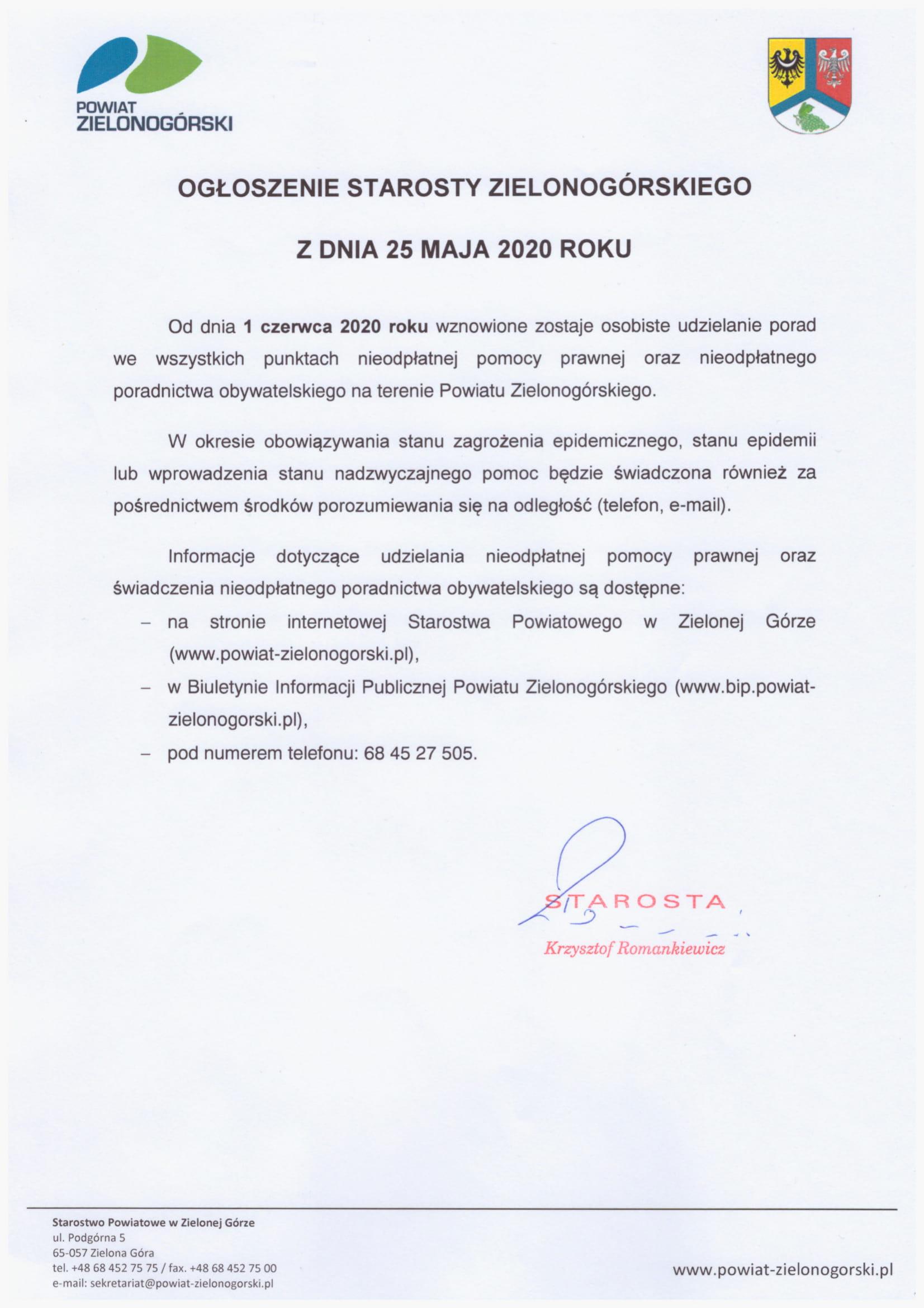 Ilustracja do informacji: Ogłoszenie Starosty dotyczące nieodpłatnej pomocy prawnej