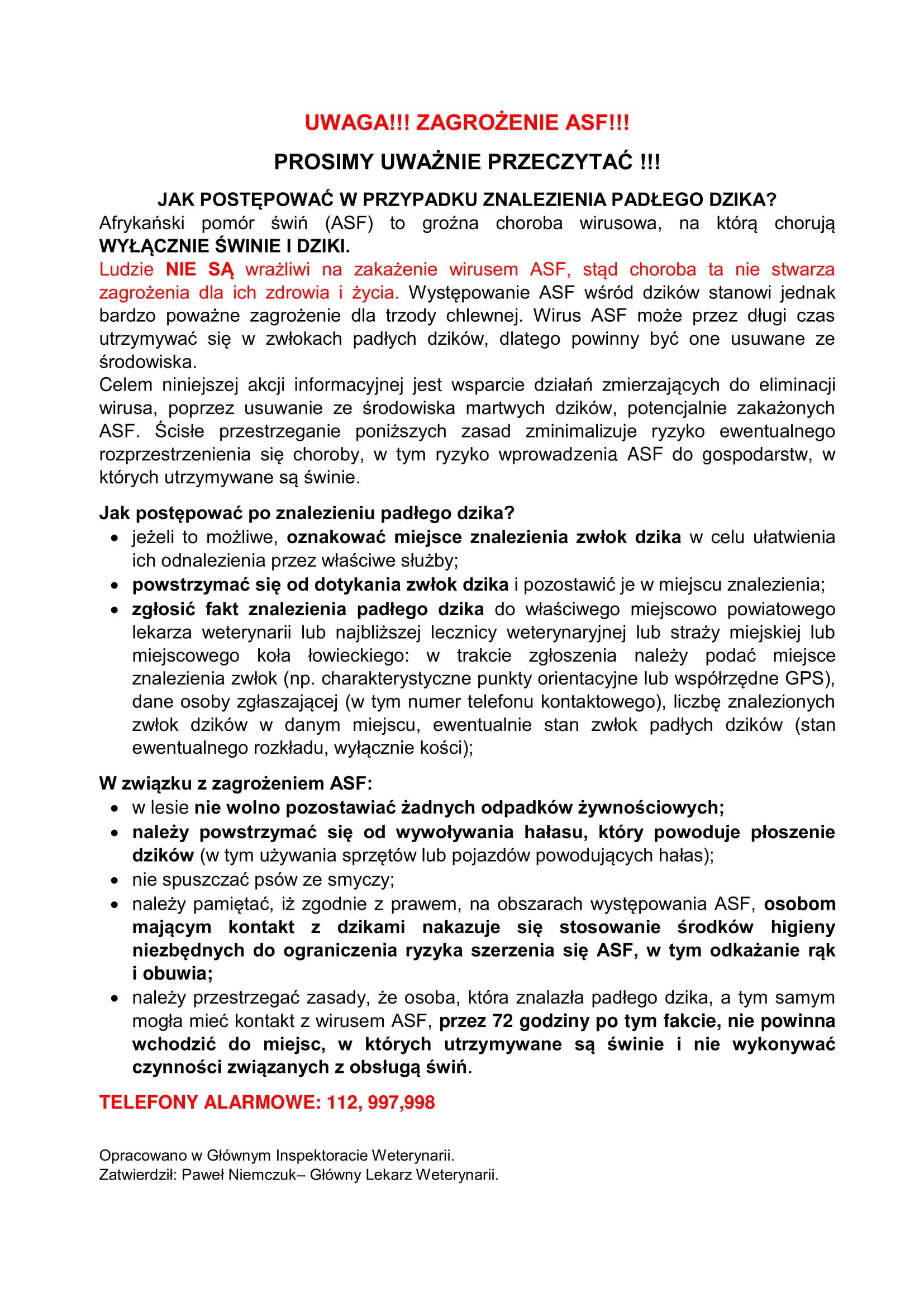 Ilustracja do informacji: Zagrożenie ASF