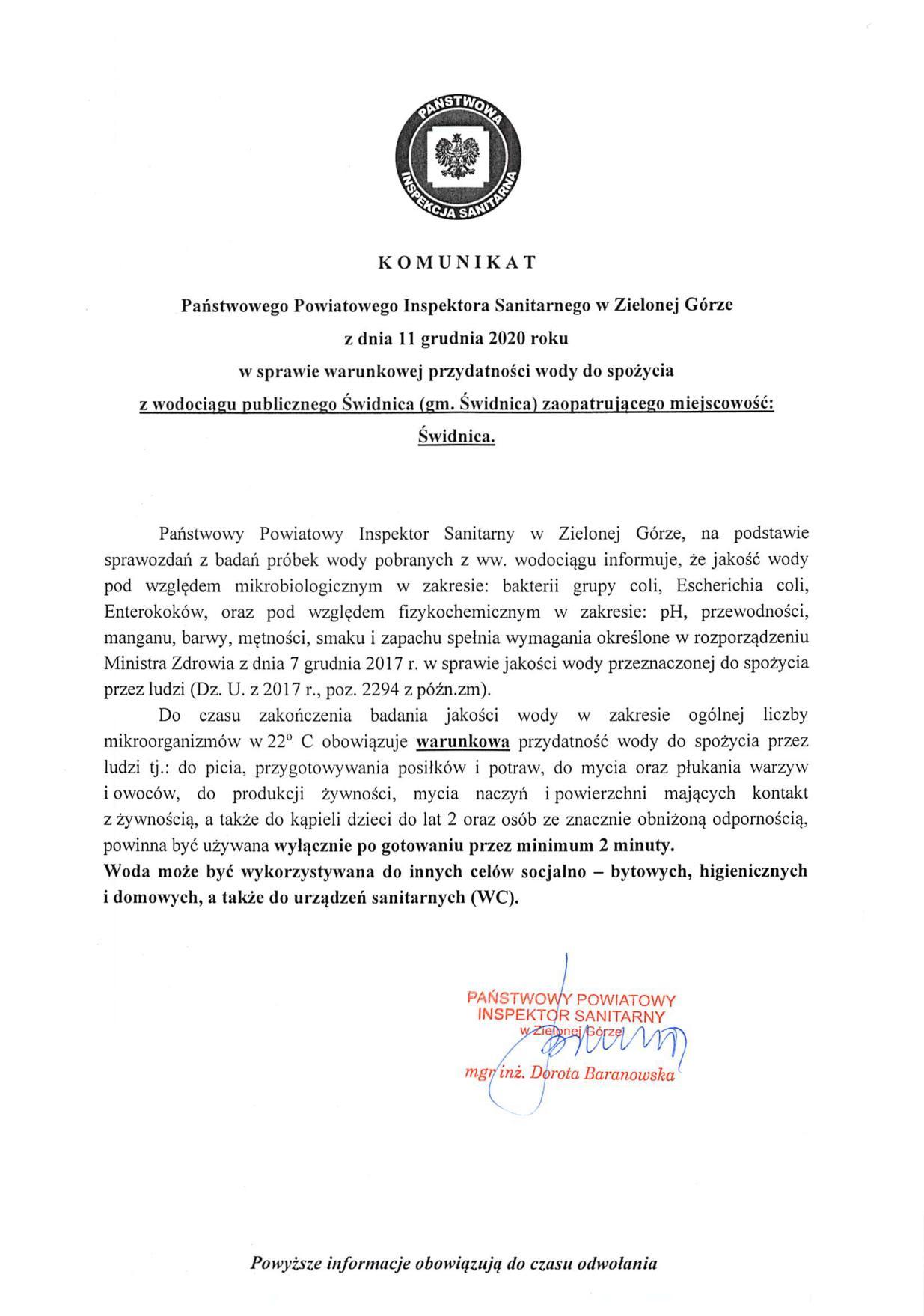 Komunikat Sanepidu o warunkowej przydatności wody w m. Świdnica