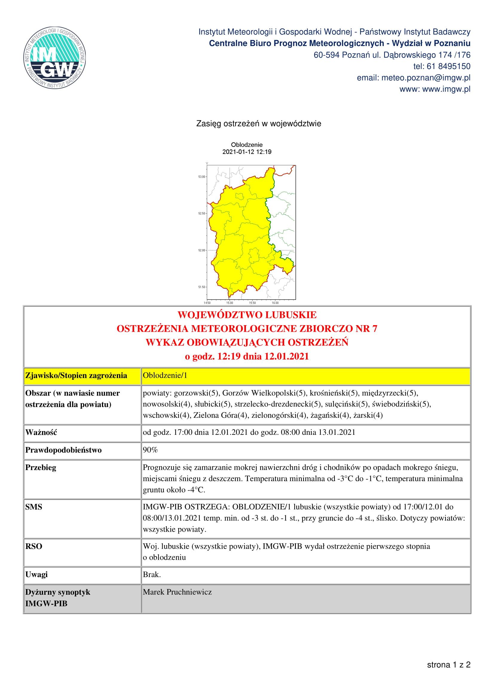 Ilustracja do informacji: Ostrzeżenie meteorologiczne