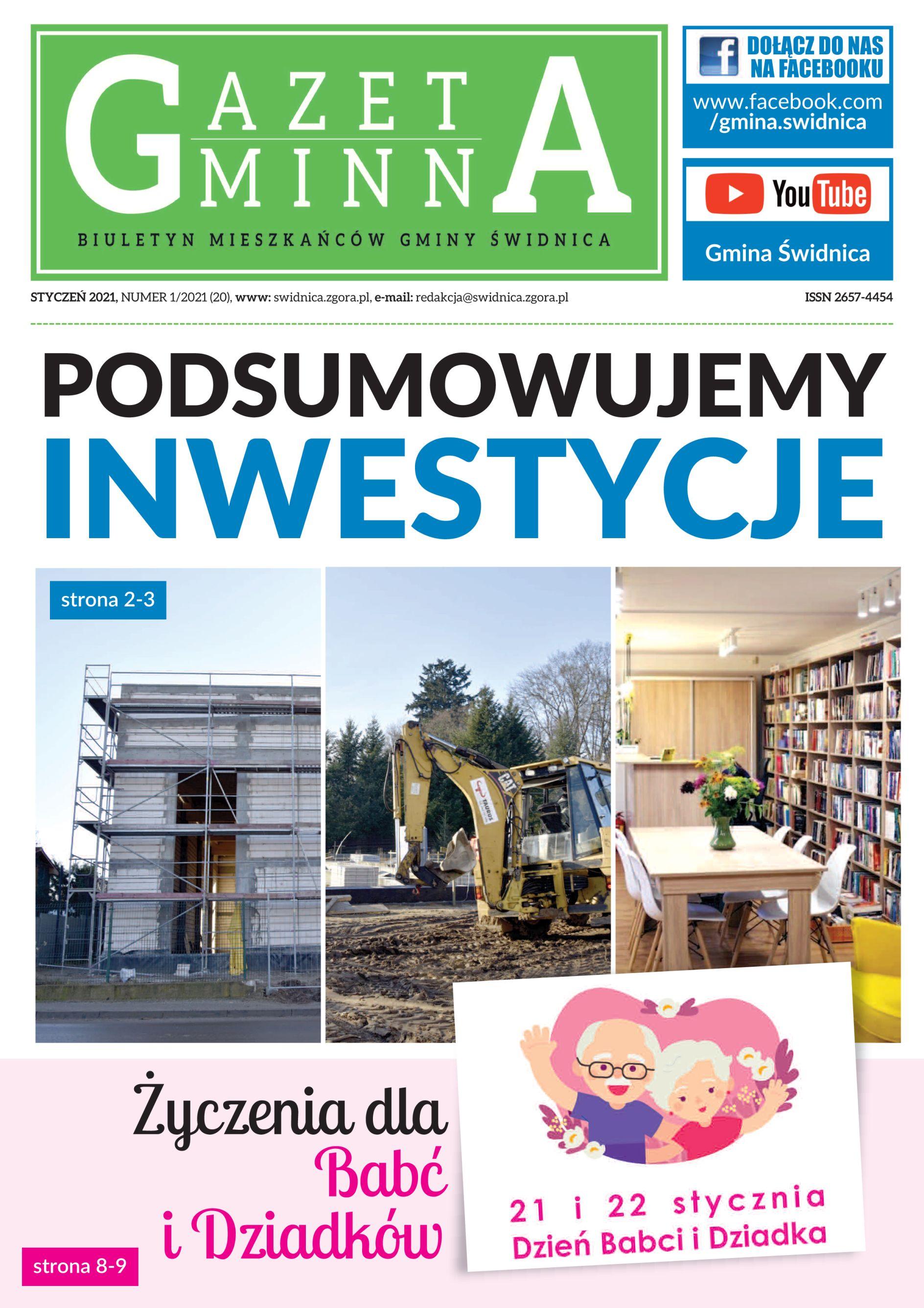 Okłada styczniowego wydania Gazety Gminnej, na której znajdują się zdjęcia realizowanych w 2020 roku inwestycji (hala sportowa w Słonem, przedszkole gminne oraz biblioteka gminna)