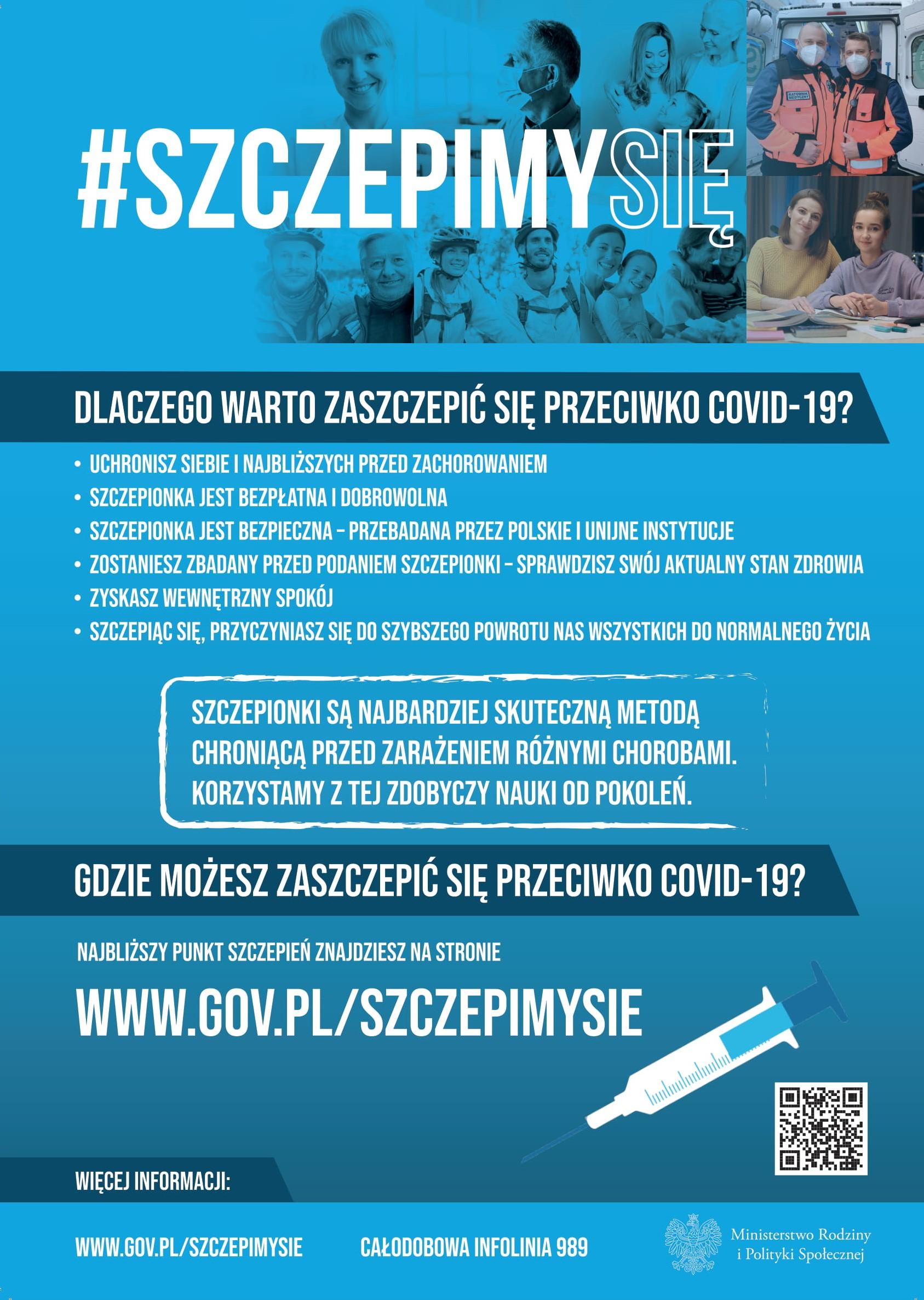 Plakat zachęcający do szczepień przeciwko Covid-19