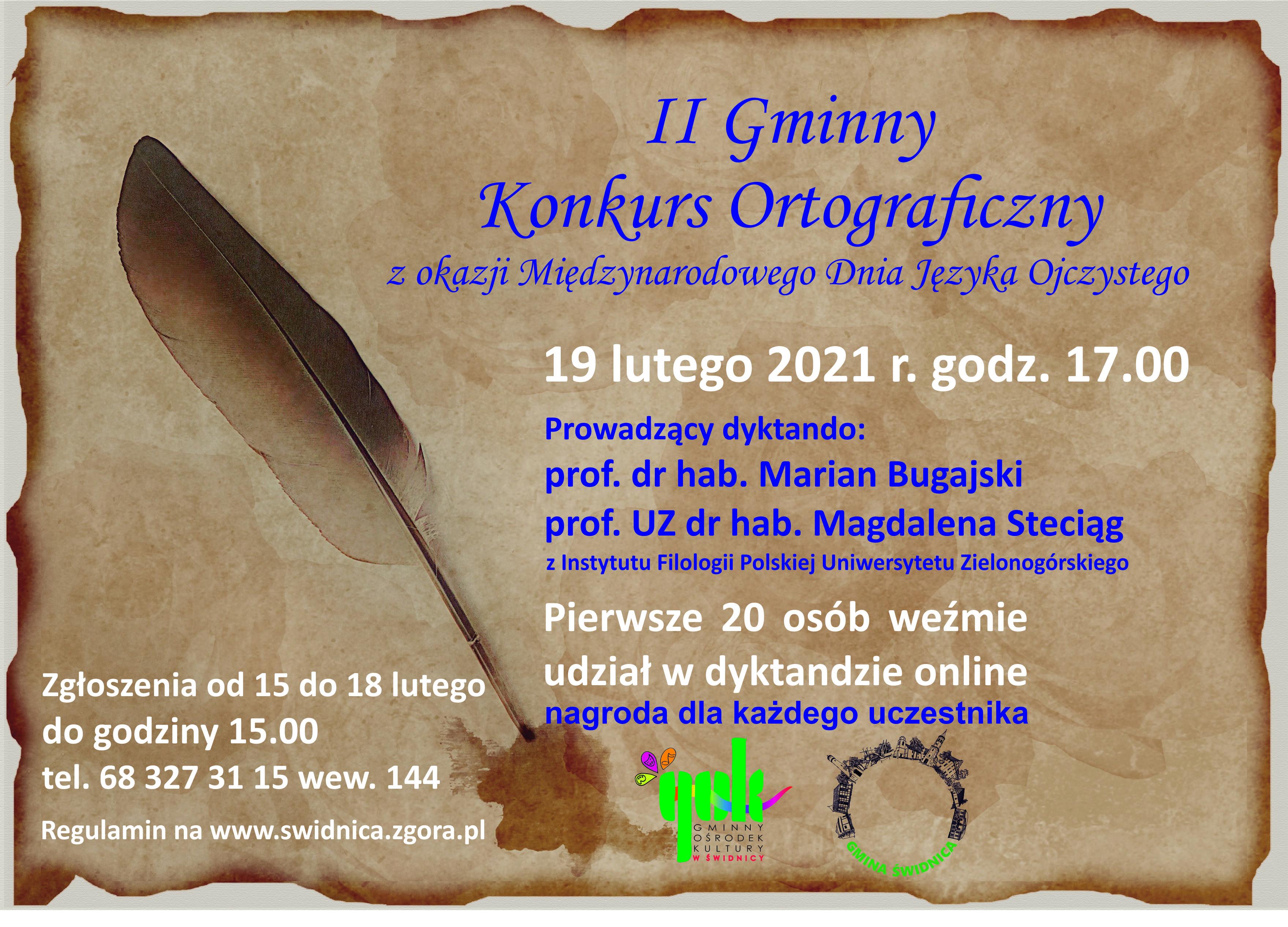 Plakat Gminnego Konkursu Ortograficznego