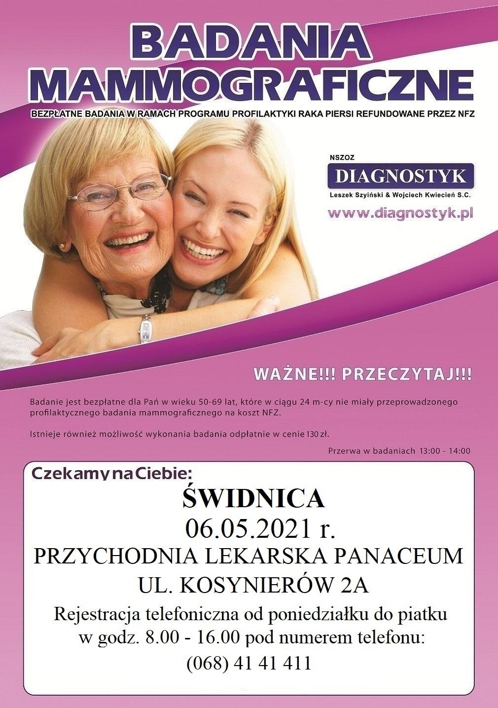 Plakat promujący badania mammograficzne w Świdnicy