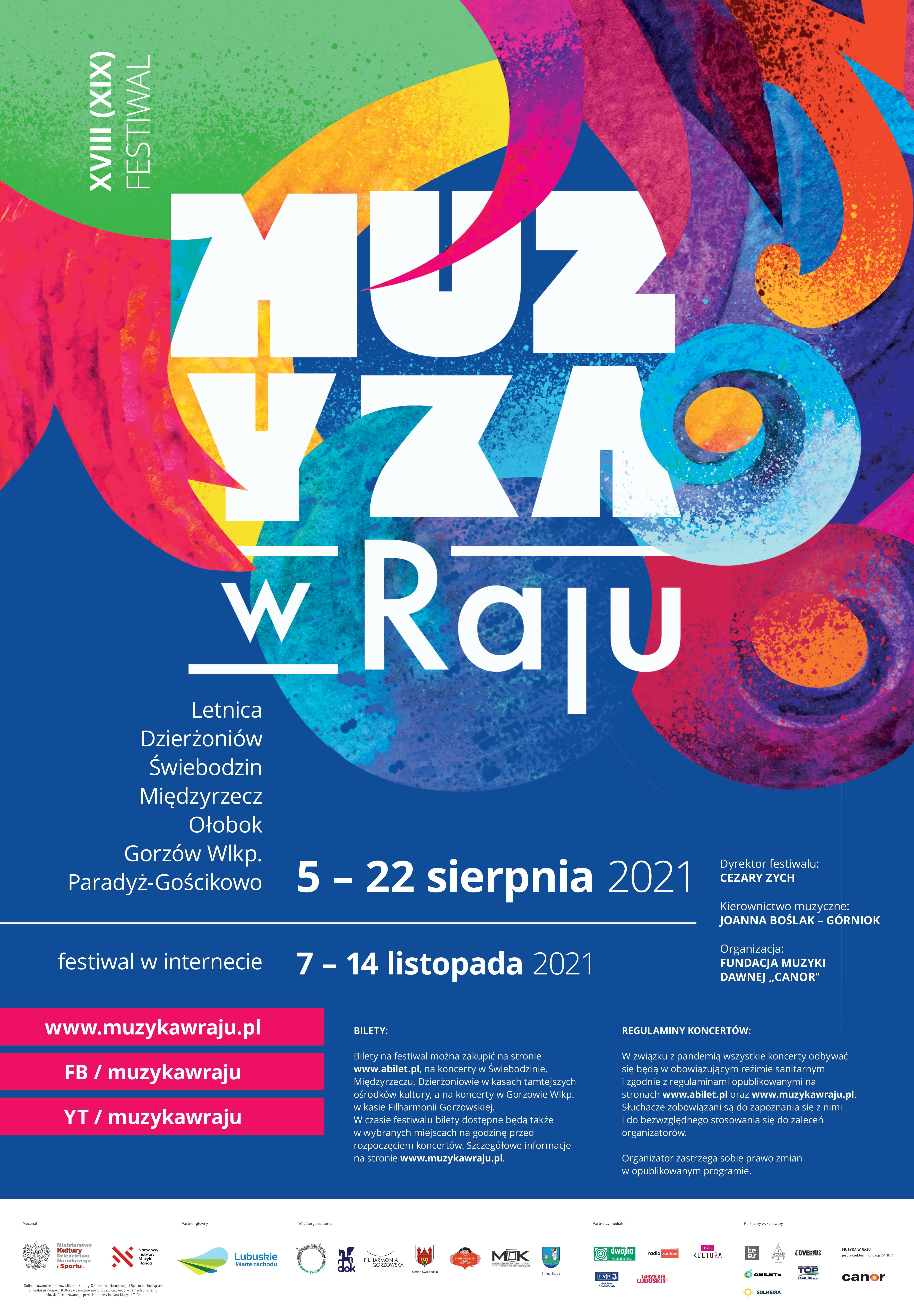 Plakat promujący festiwal Muzyka w Raju