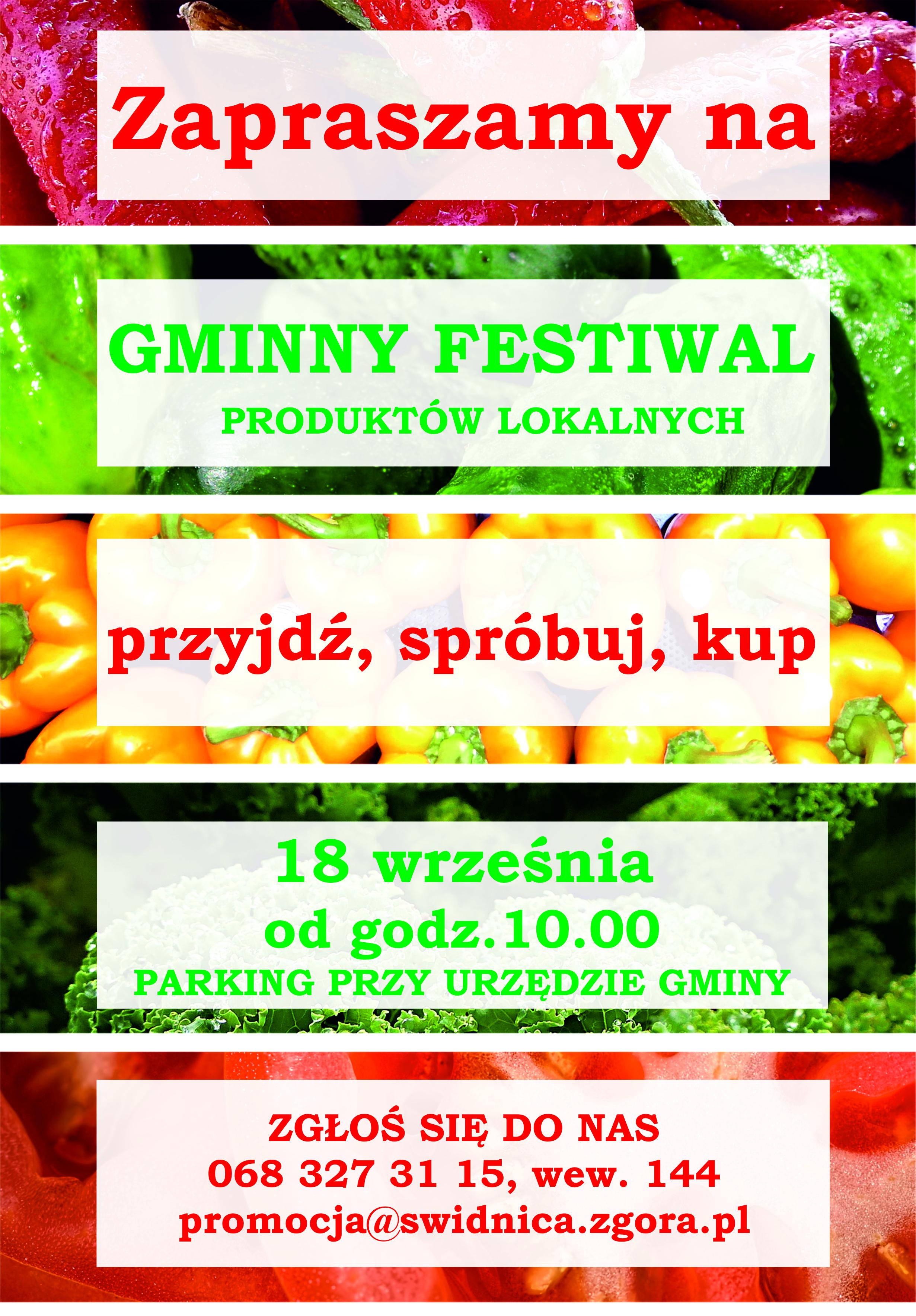 Plakat promujący Gminny festiwal produktów lokalnych