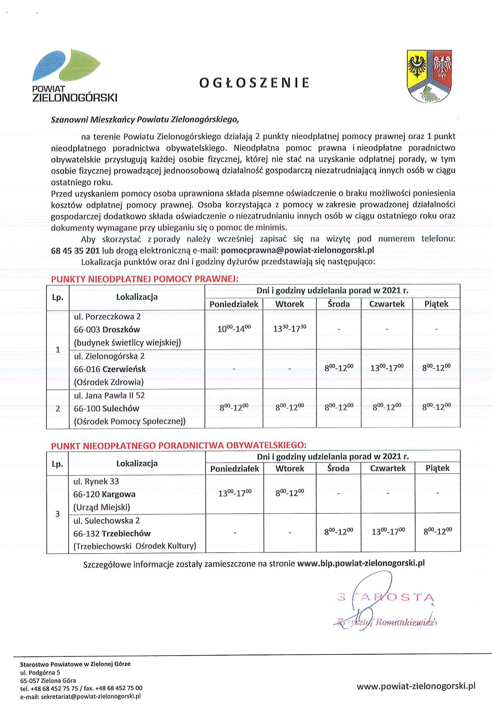 Lista placówek nieodpłatnego poradnictwa prawnego i obywatelskiego