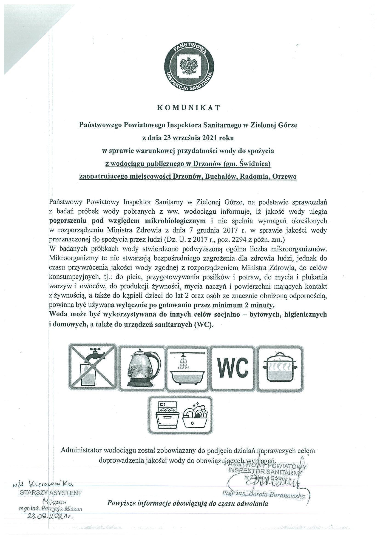 Komunikat Sanepidu dotyczący pogorszenia stanu wody w miejscowościach Buchałów, , Drzonów, Radomia, Orzewo