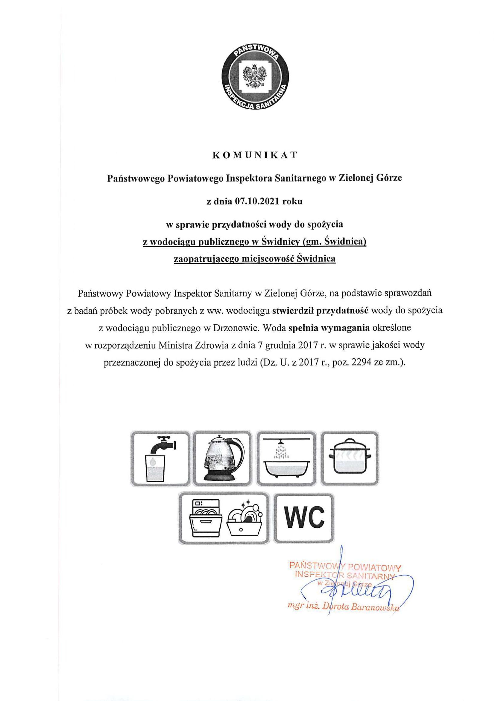 Ilustracja do informacji: Komunikat sanepidu z dnia 07.10.21r.