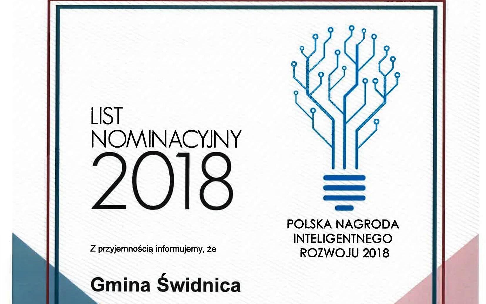 Ilustracja do informacji: Nominacje do Polskiej Nagrody Inteligentnego Rozwoju 2018 dla Gminy Świdnica i Wójta