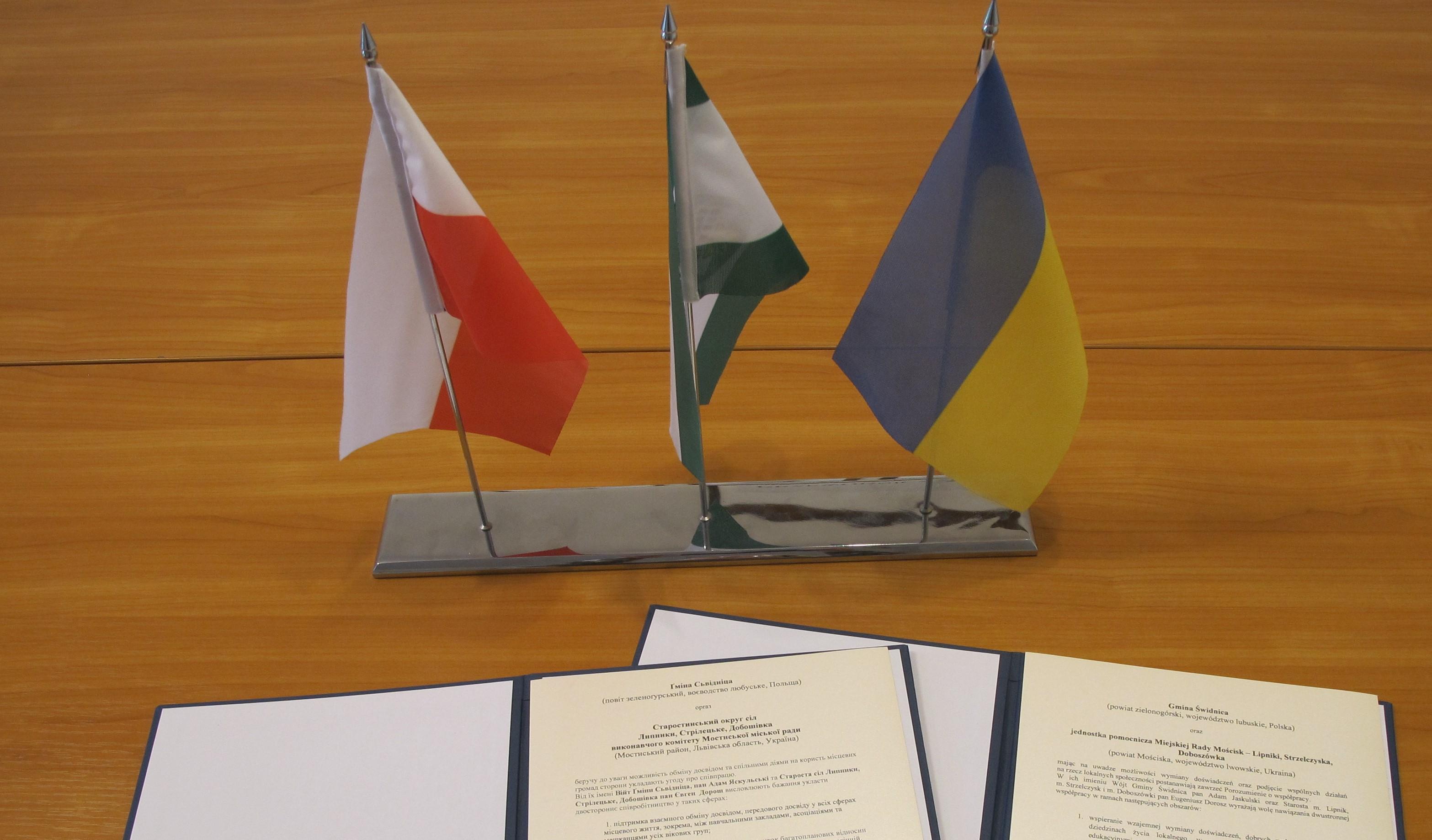 Ilustracja do informacji: Porozumienie o współpracy z gminą Lipniki, Strzelczyska i Doboszówka na Ukrainie - jednostką pomocniczą Miejskiej Rady Mościsk
