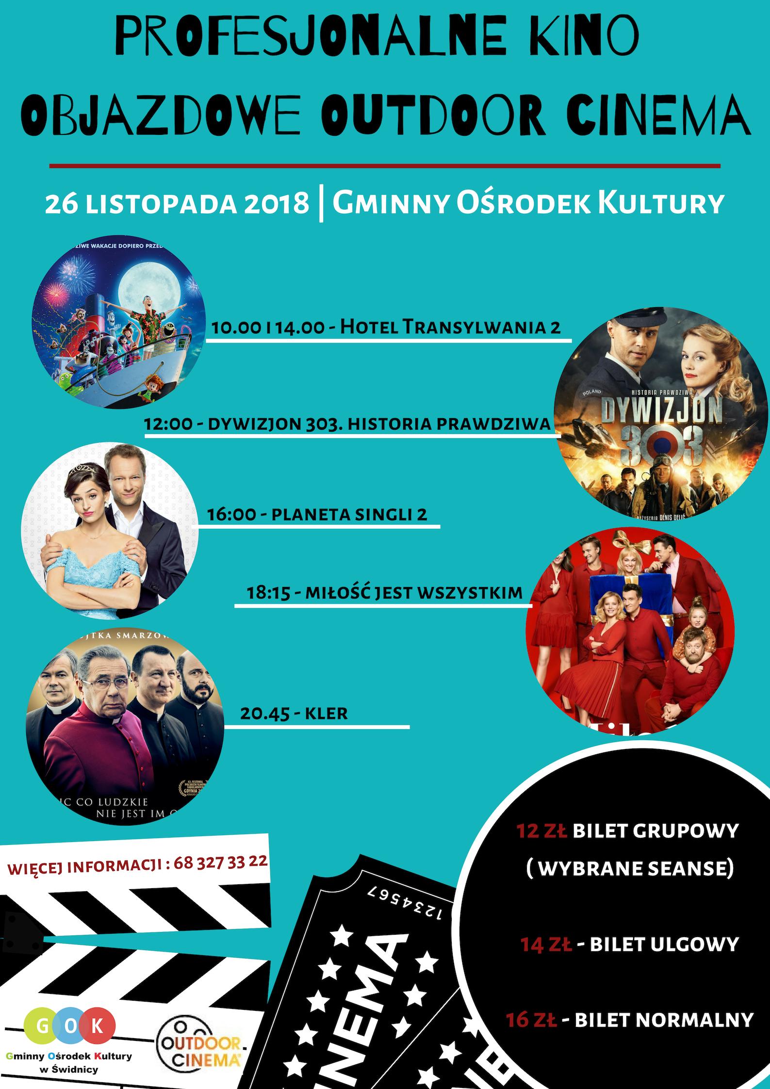 Ilustracja do informacji: Kino objazdowe w Gminnym Ośrodku Kultury w Świdnicy