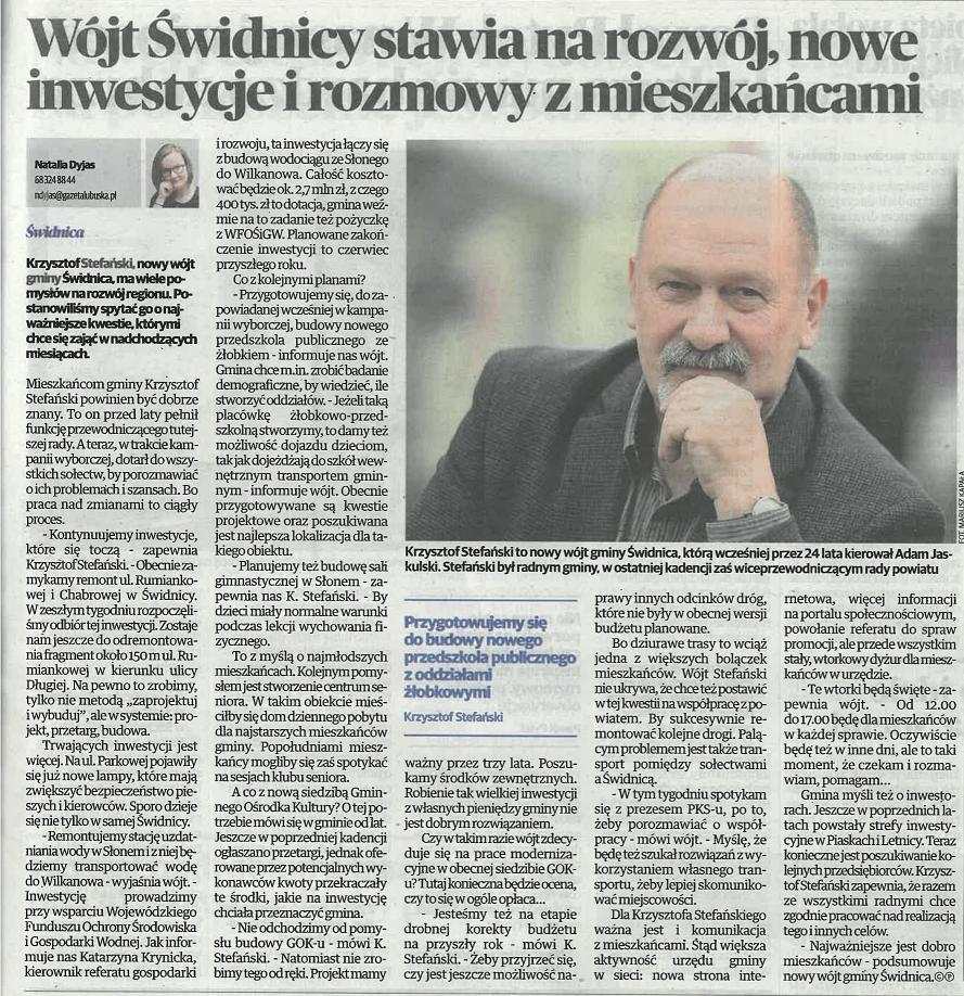Ilustracja do informacji: Wywiad z wójtem Krzysztofem Stefańskim w Gazecie Lubuskiej